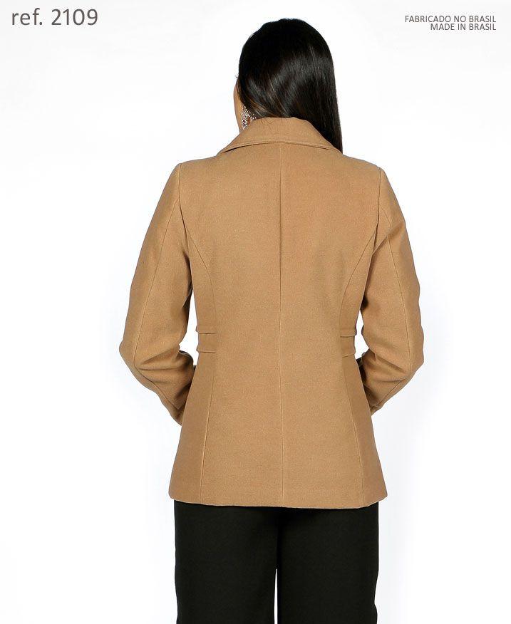 Casaco lã Sobretudo feminino caramelo plus size - Ref. 2109