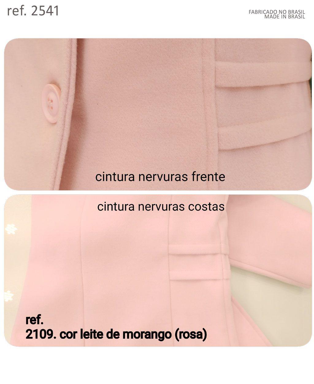 Casaco lã Sobretudo feminino Rosa v. limitada - Ref. 2109