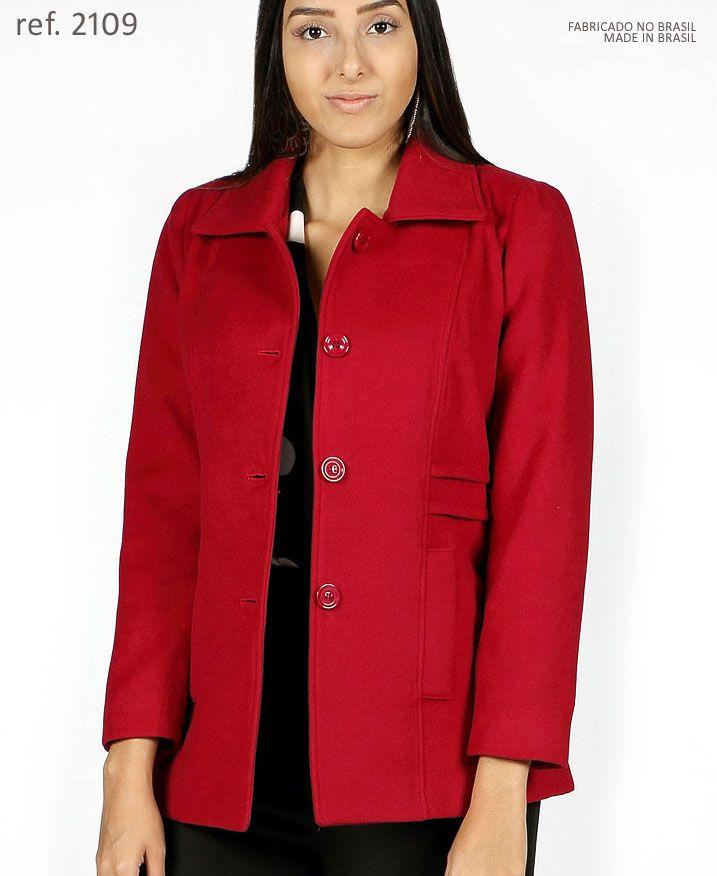 Casaco lã Sobretudo feminino Vermelho plus size - Ref. 2109