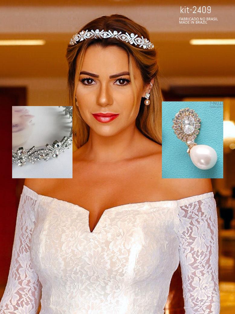 Kit Casamento civil vestido, tiara e brinco