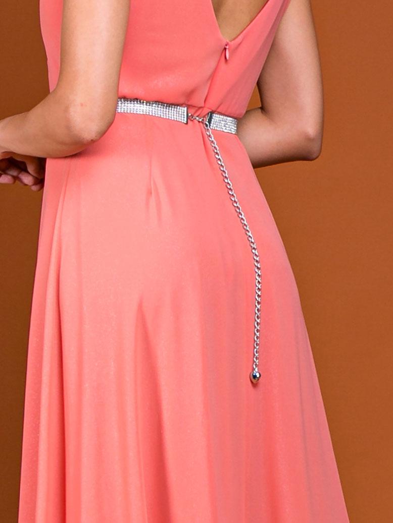 cinto de strass em vestido de festa coral