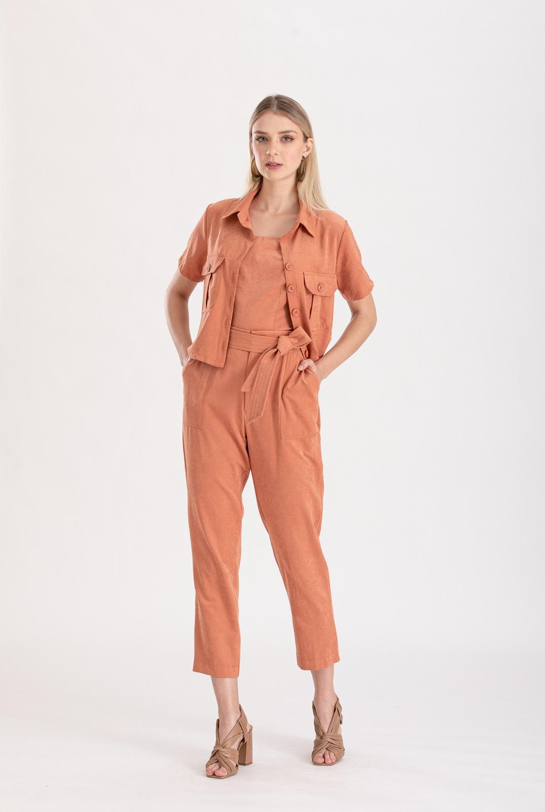 Conjunto terracota calça  e camisa ref. F12304529