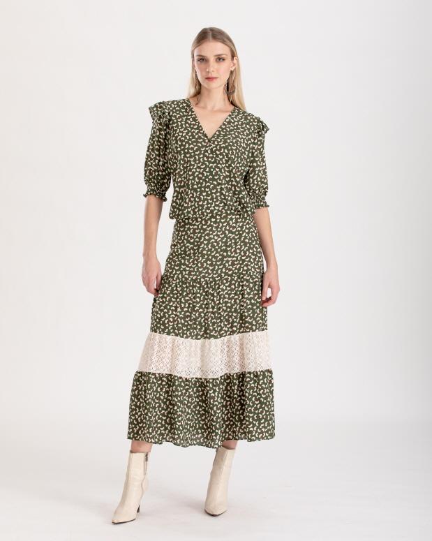Conjunto estampado verde com blusa e  saia ref. f1236343