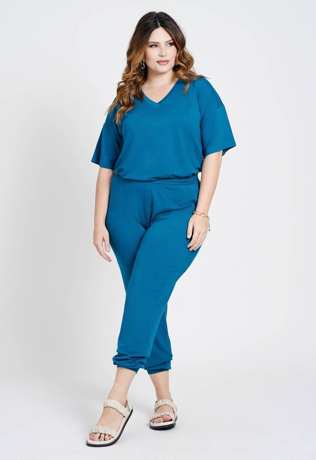 Conjunto malha blusa e calça azul Ref. U80621