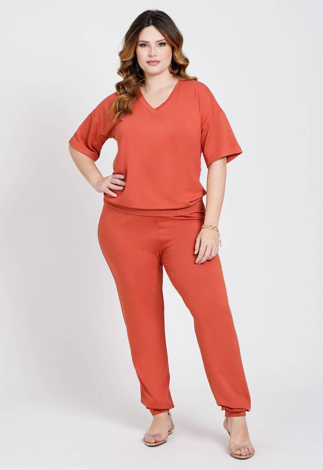 Conjunto malha blusa e calça Terracota Ref. U80621