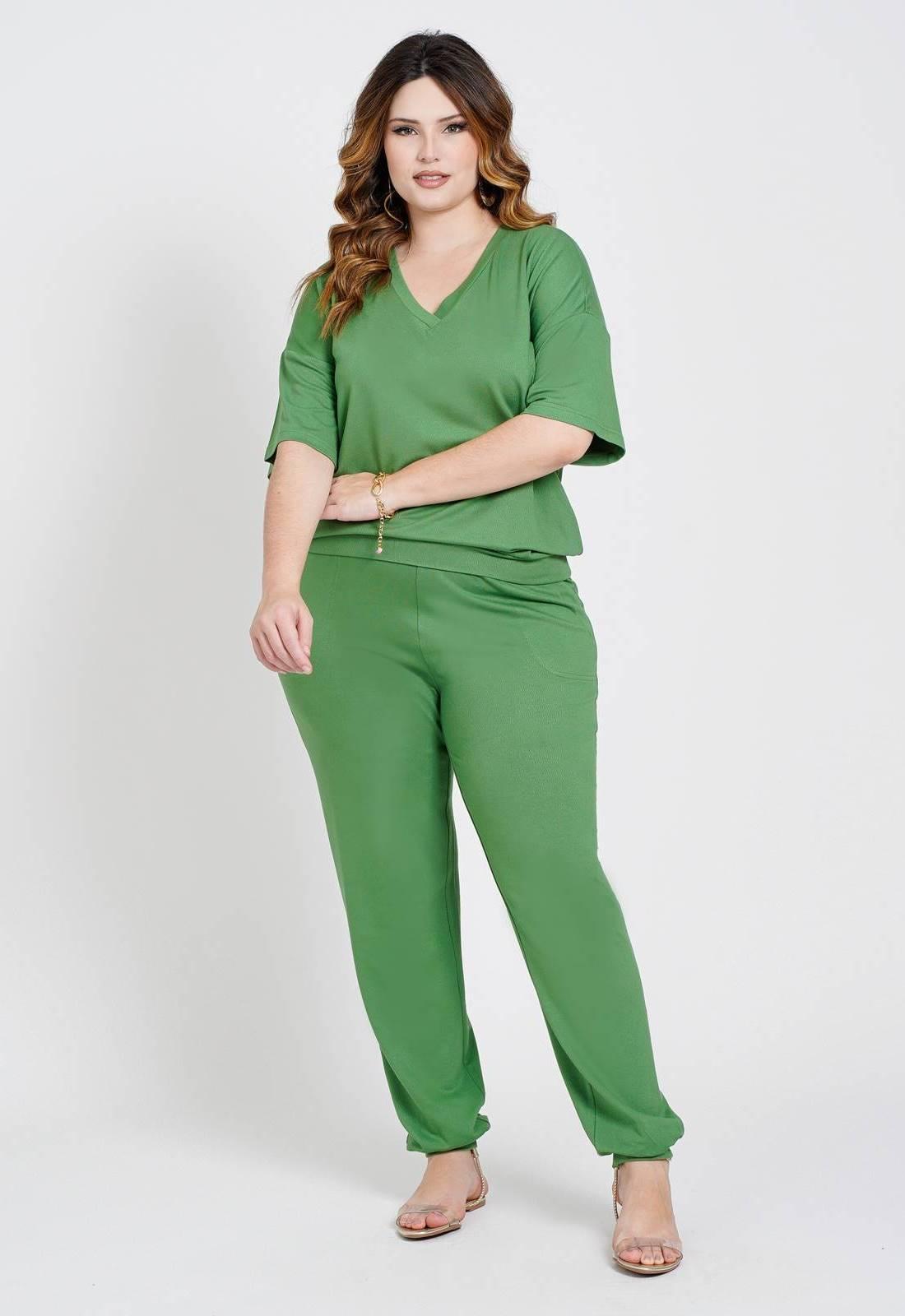 Conjunto malha blusa e calça verde Ref. U80621
