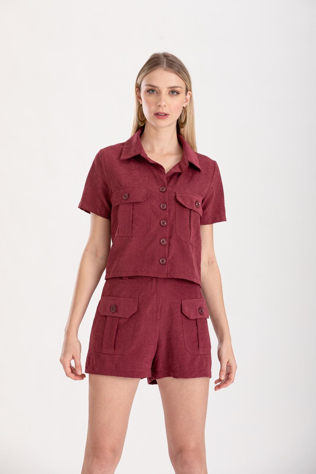 Conjunto marsala shorts  e camisa ref. F123056