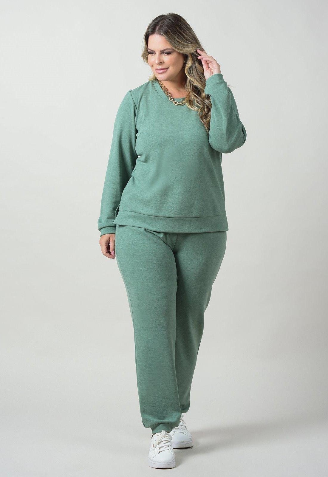 Conjunto  moletom plus size  verde blusa  e calça  Ref. U69121