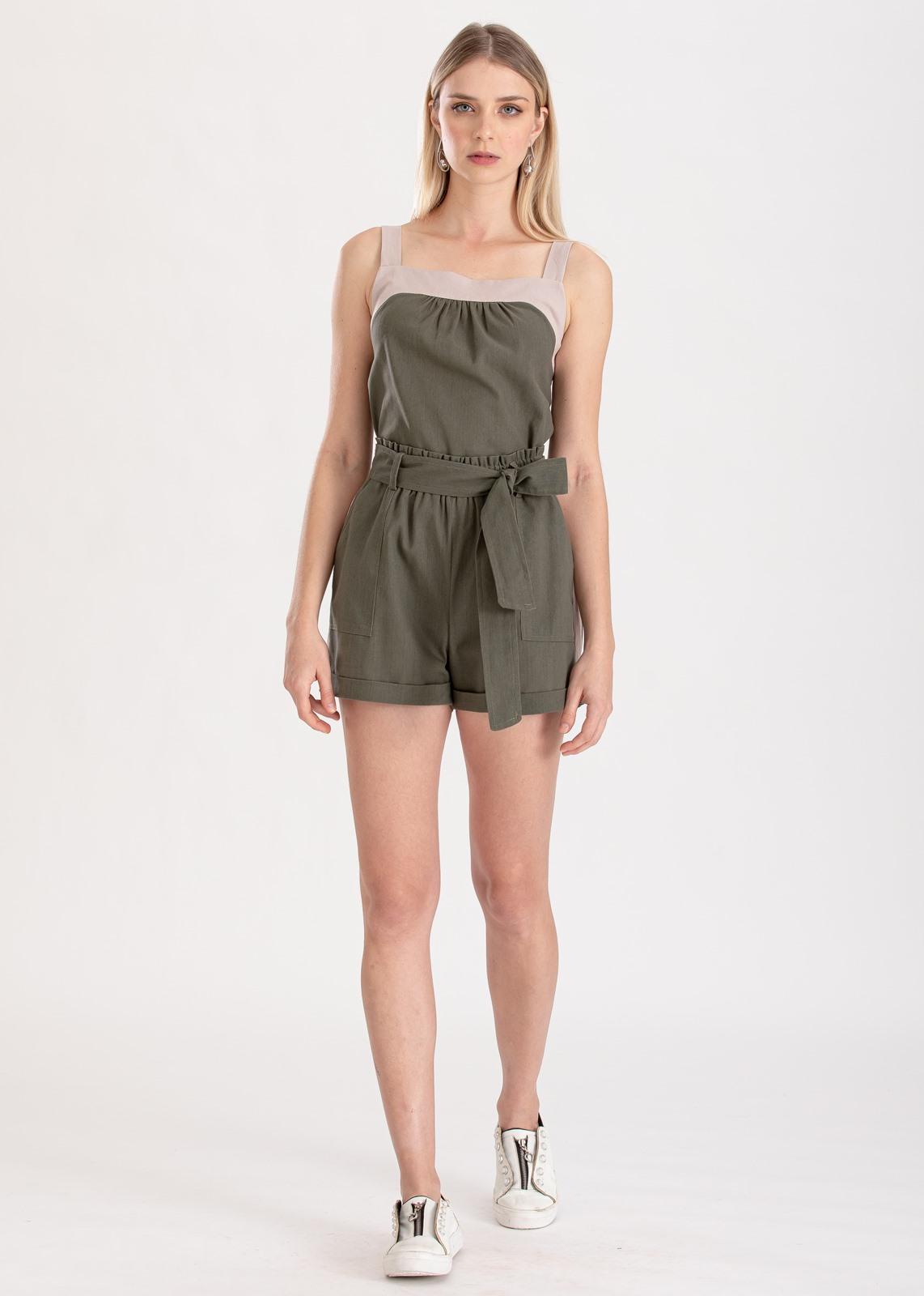 Conjunto verde shorts  e regata ref. F123123