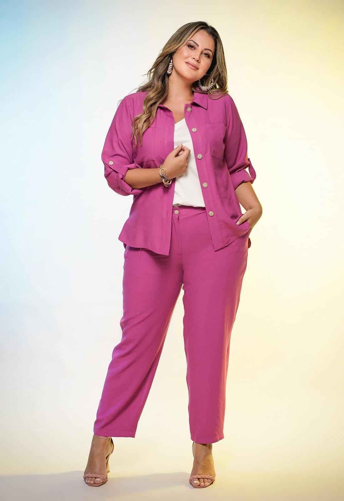 Conjunto pink calça e camisão  plus size  Ref. U63621