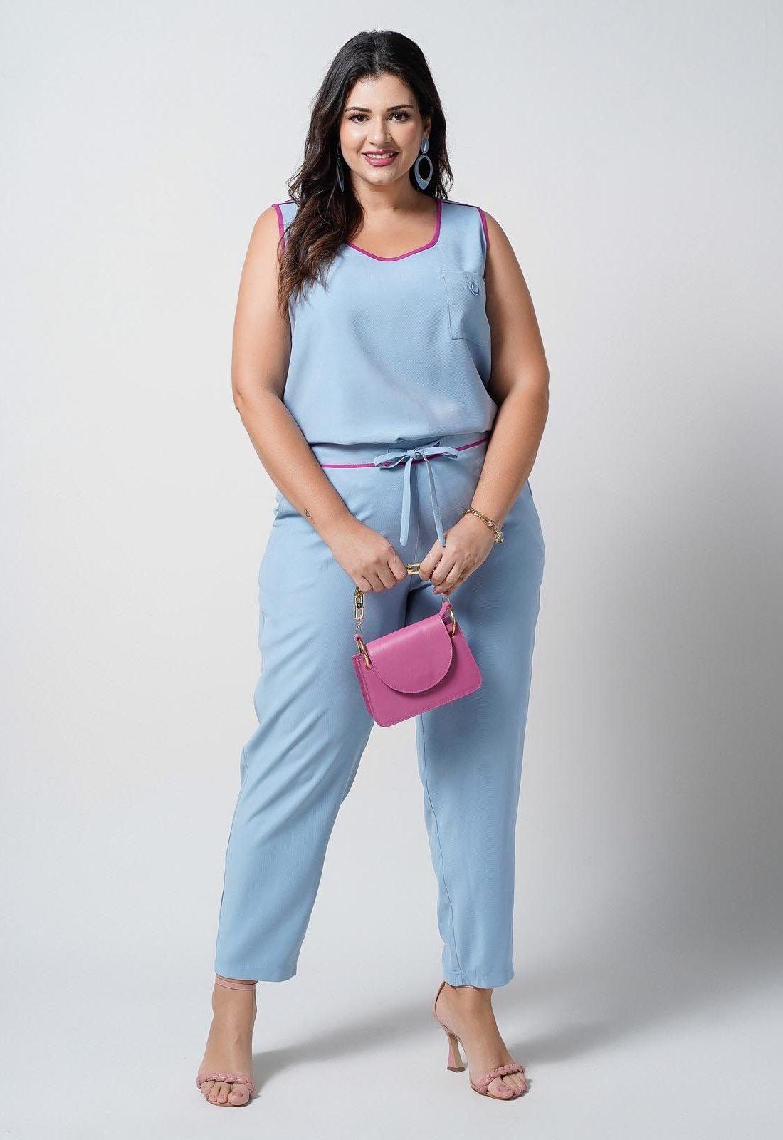 Conjunto  plus size  azul blusa e calça elástico nas costas  Ref. U66721