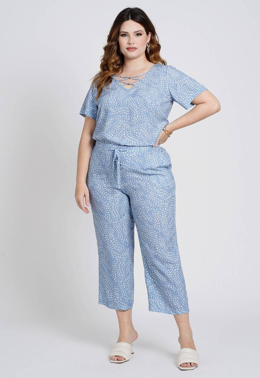 Conjunto plus size pantacourt blusa e calça AZUL Ref. U82221