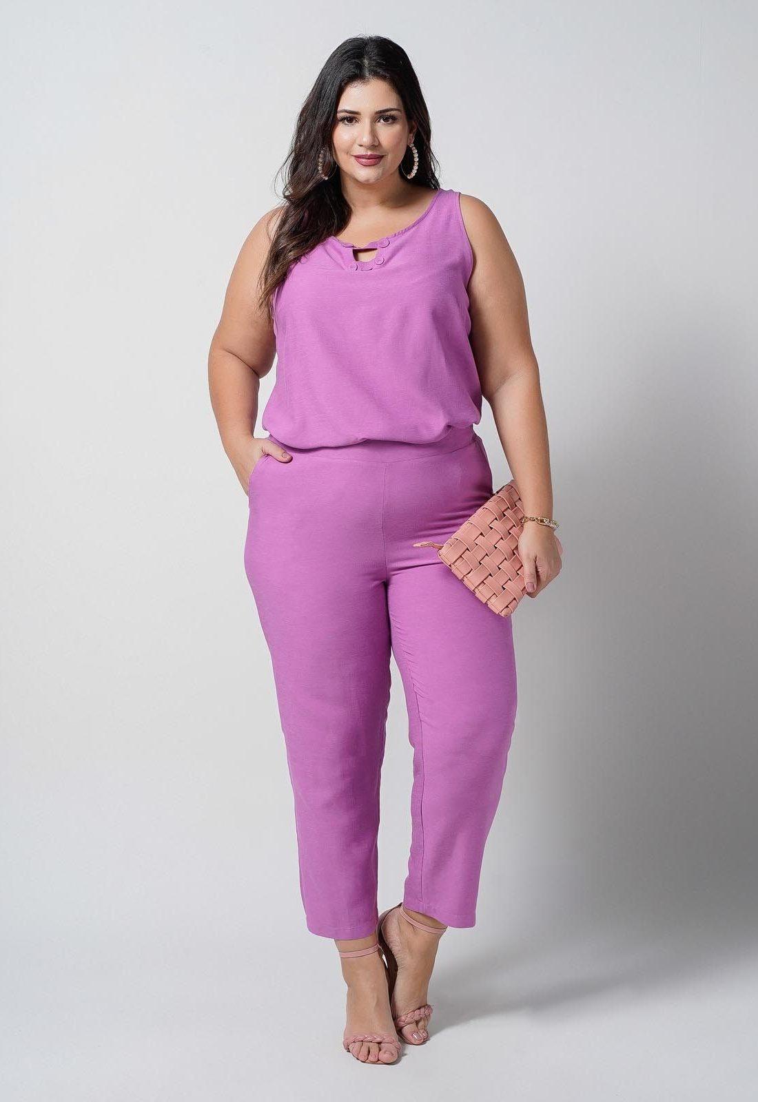 Conjunto  plus size  pink blusa e calça elástico nas costas  Ref. U67421