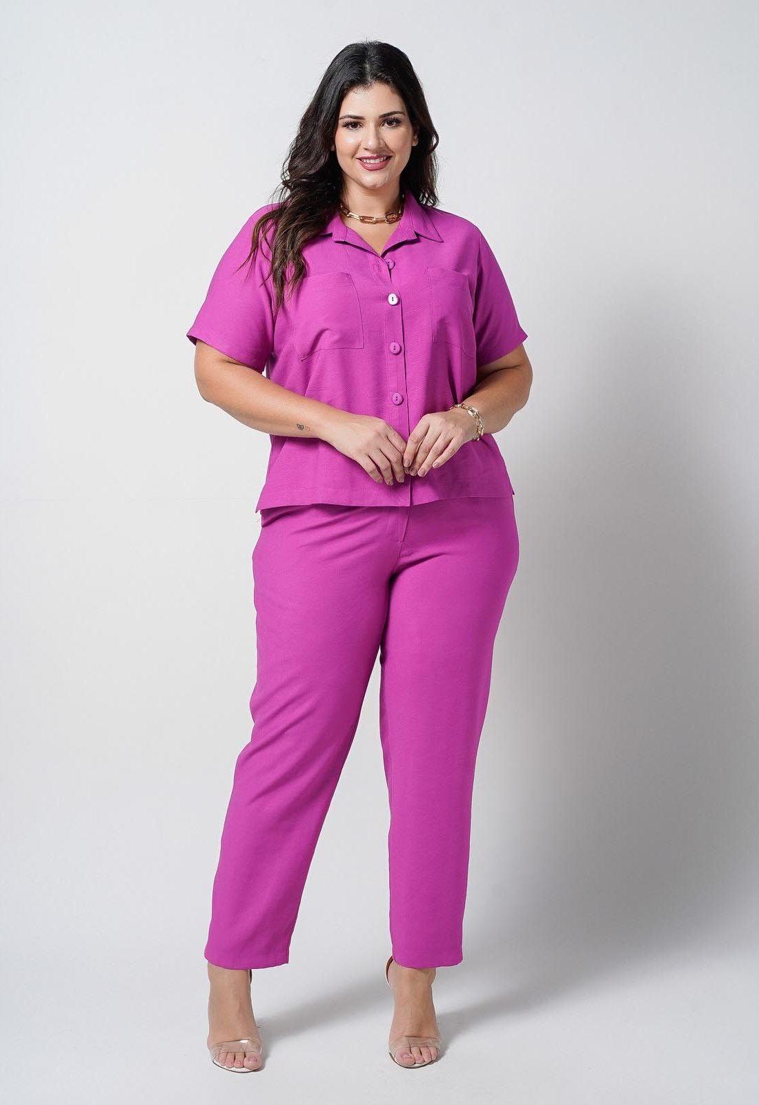 Conjunto  plus size  pink camisa e calça  Ref. U66621