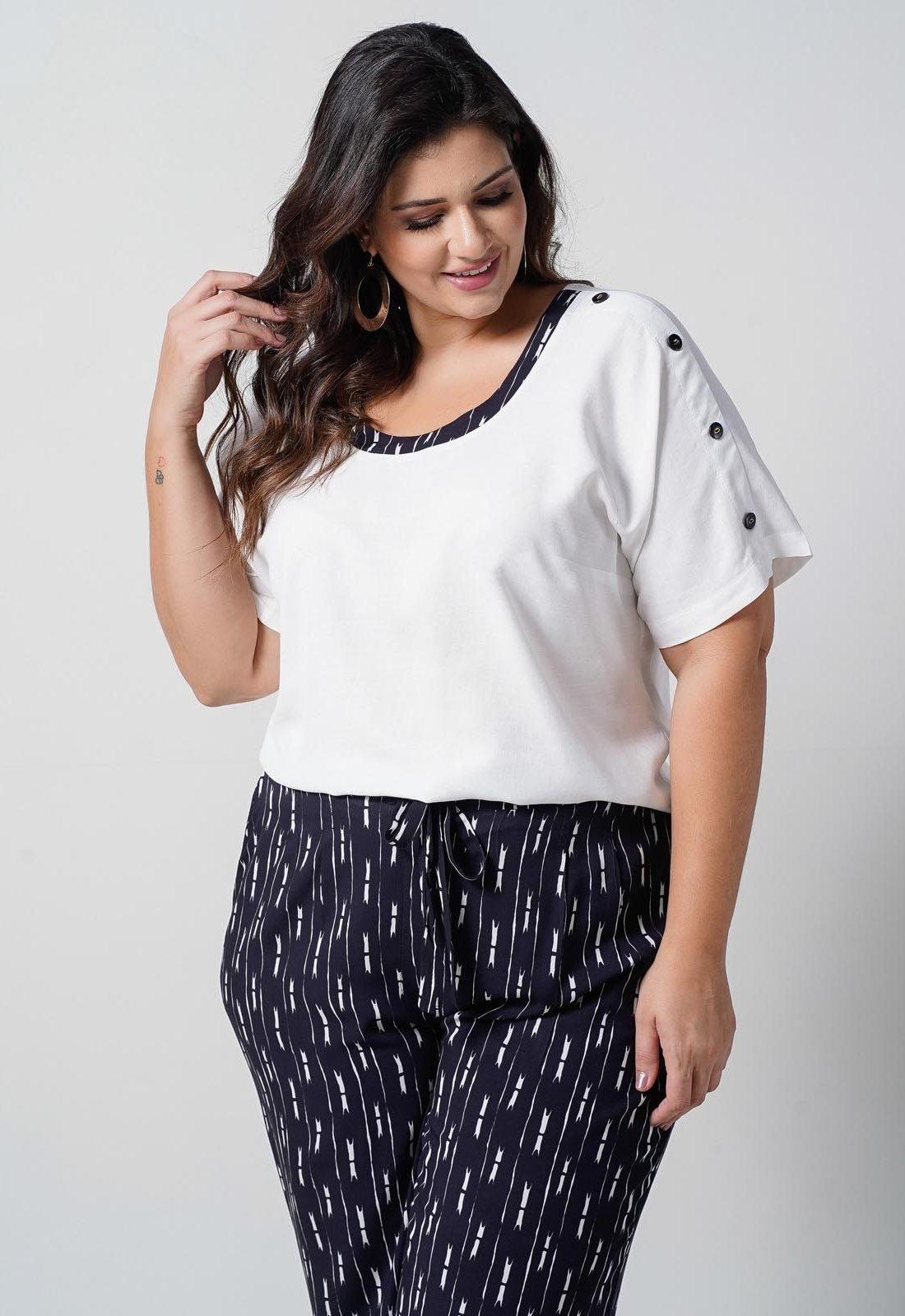 Conjunto  plus size  preto blusa com  calça elástico nas costas  Ref. U66821