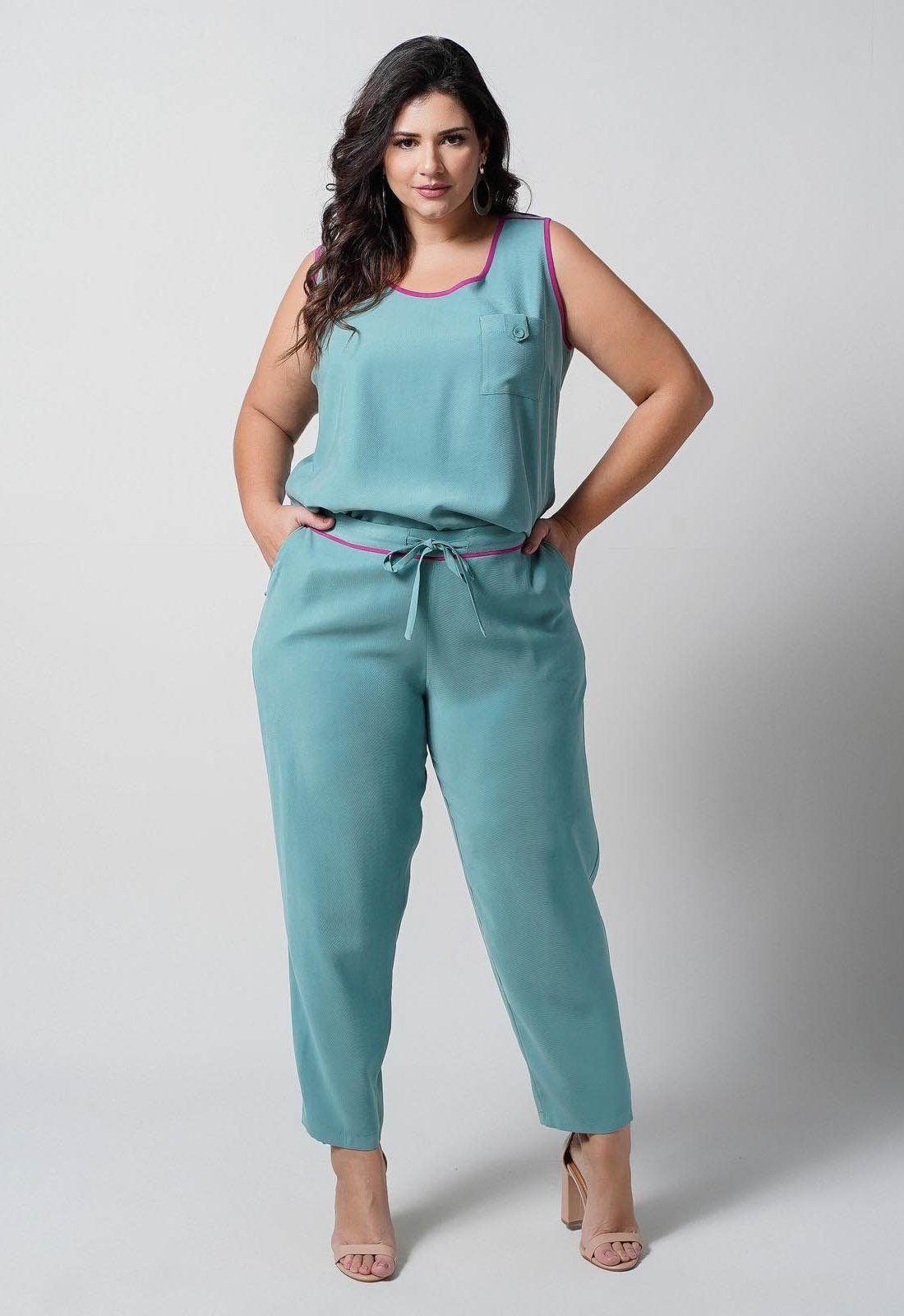 Conjunto  plus size  verde blusa e calça elástico nas costas  Ref. U66721