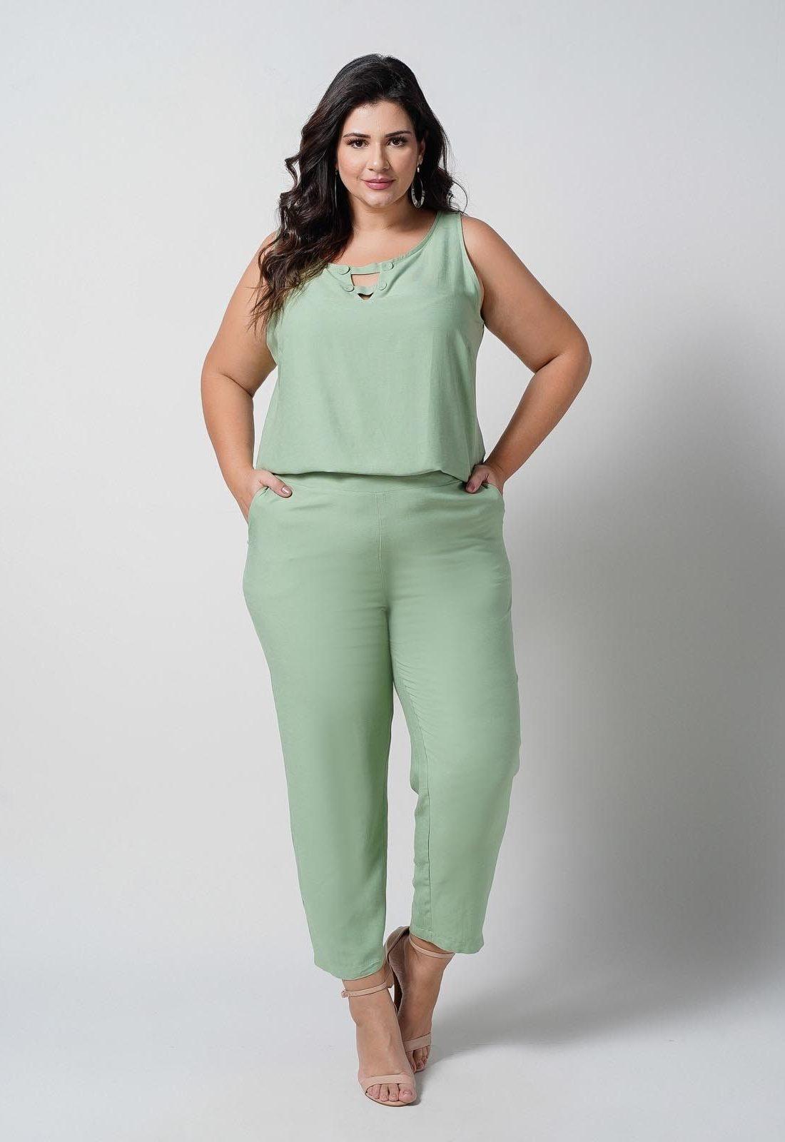 Conjunto  plus size  verde blusa e calça elástico nas costas  Ref. U67421