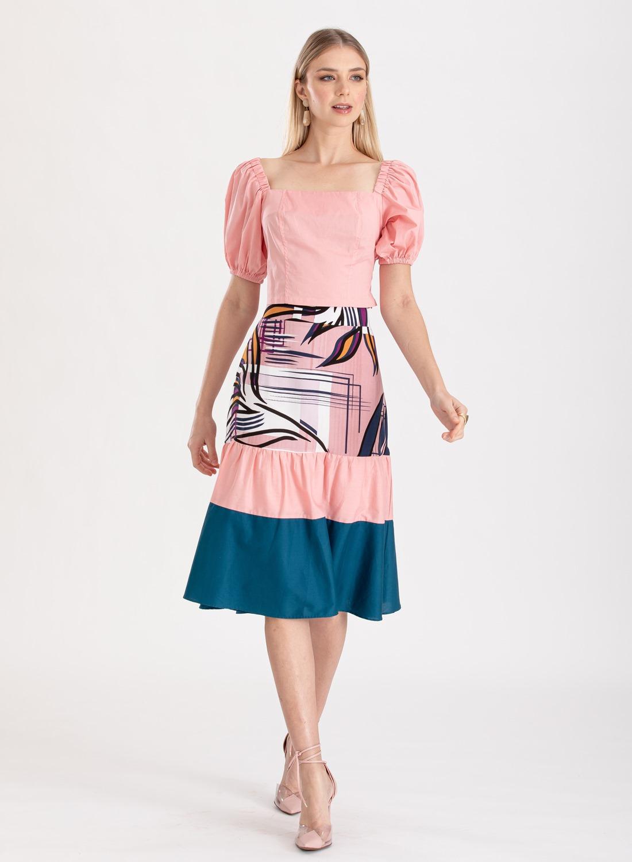 Conjunto saia  e blusa rosa ref. F1231024