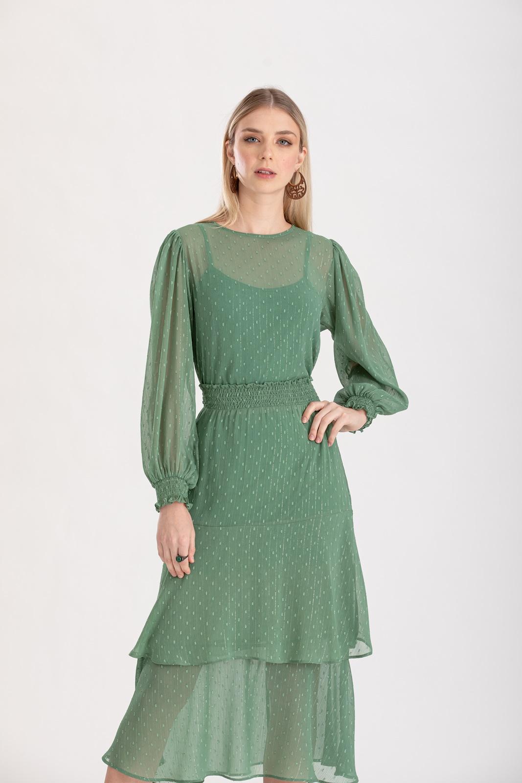 Conjunto saia midi e blusa verde ref. F123089