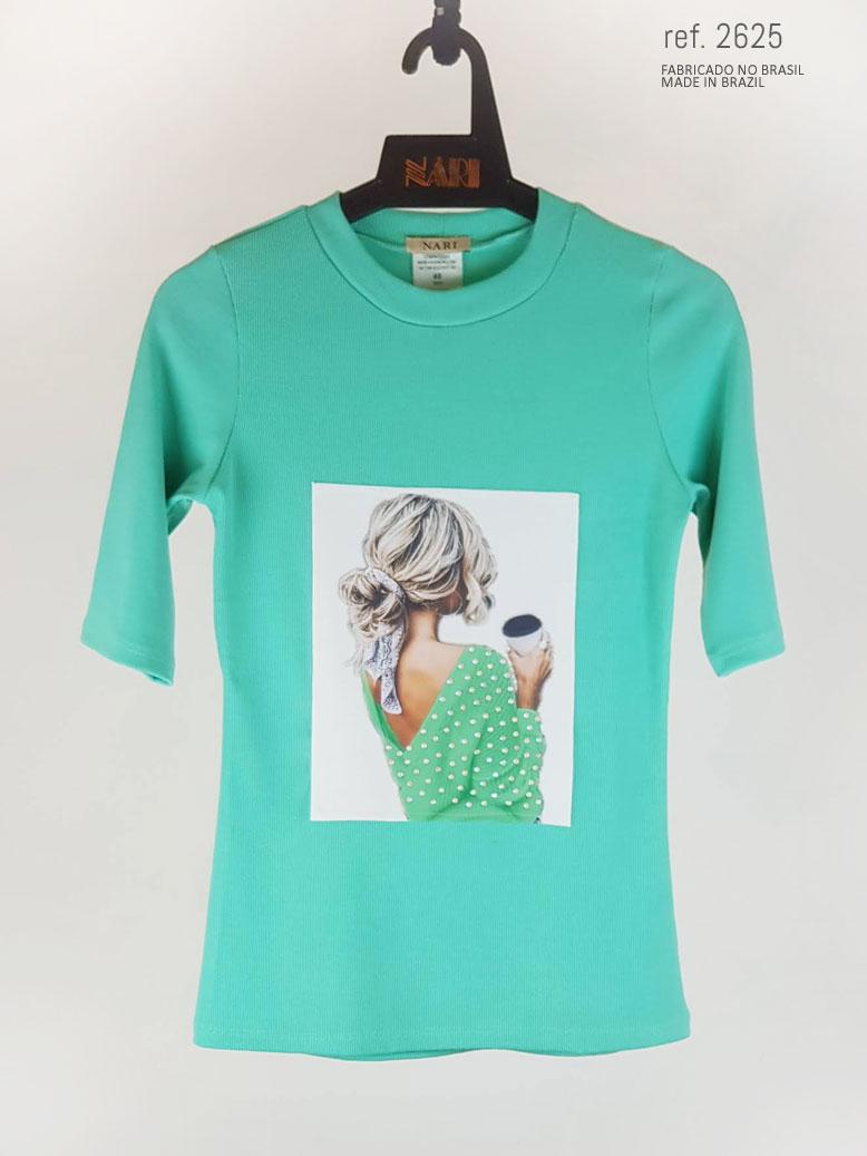 Blusa feminina estampada verde ref. 2625