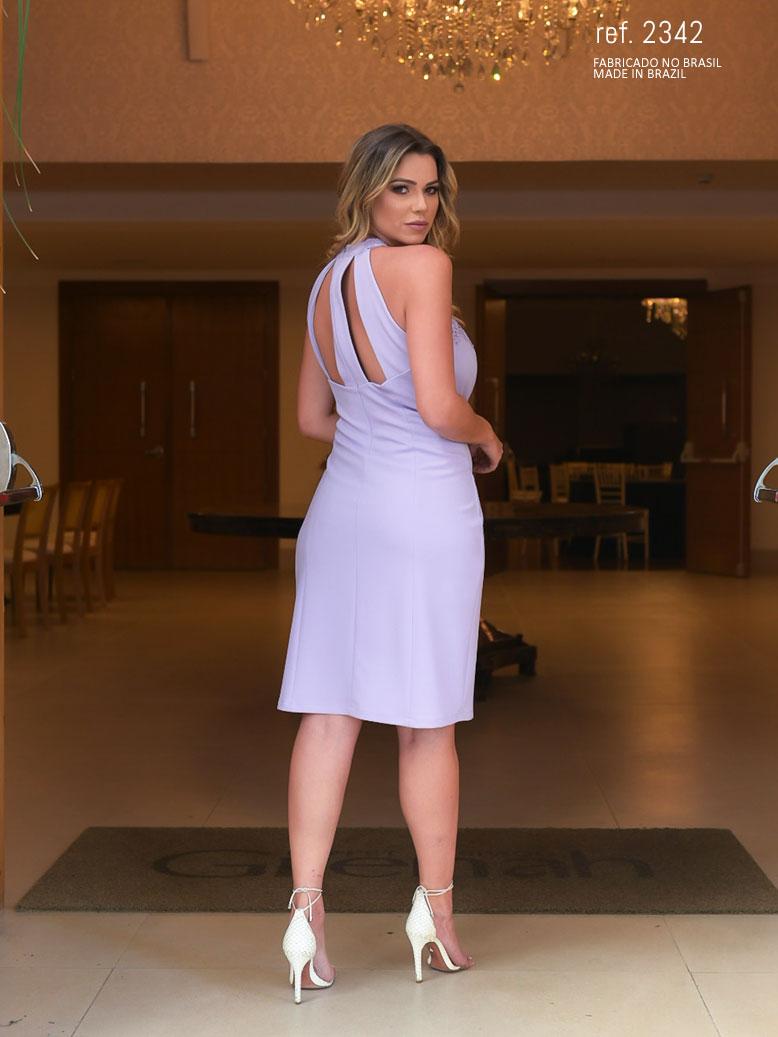 vestido lilás com guippir