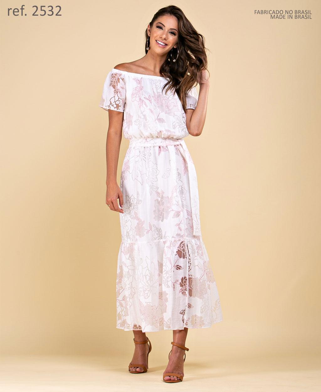 Vestido de festa midi off white azul- Ref. 2532