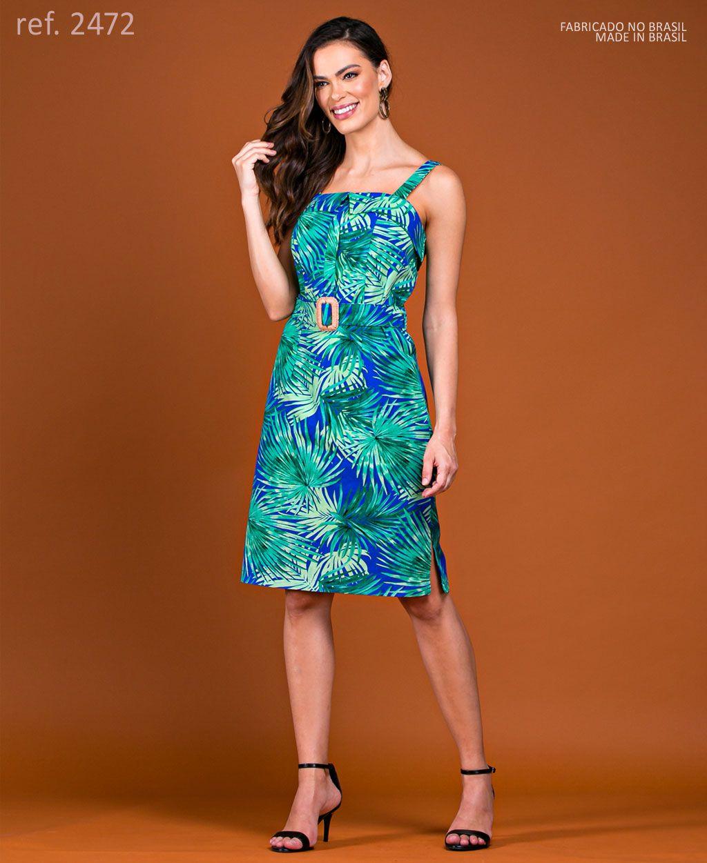 Vestido de festa tubinho curto de sarja estampado - Ref. 2472 Azul