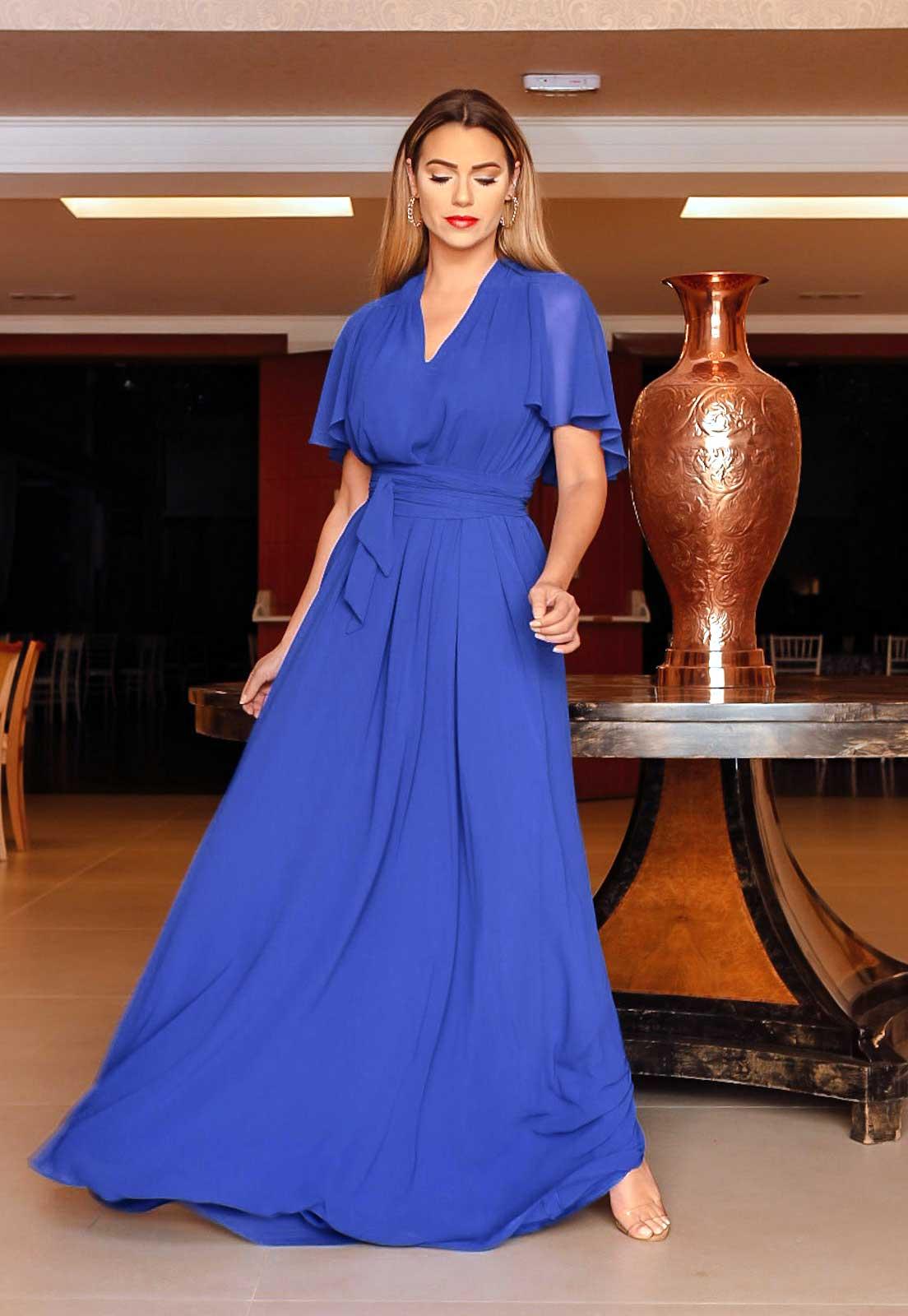 Vestido longo para madrinha Azul Royal ref.2593 tamanho único