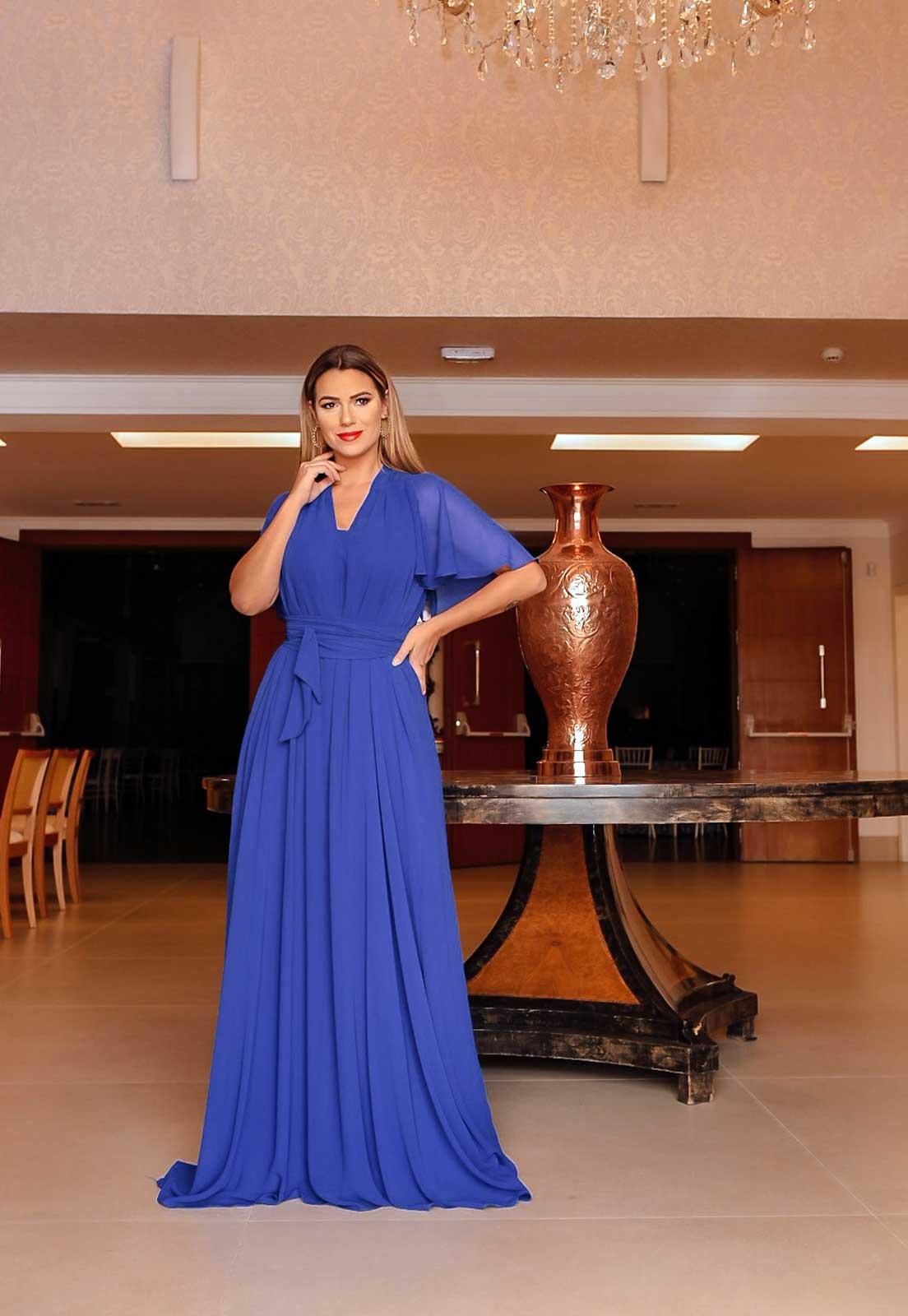 vestido de festa azul bic