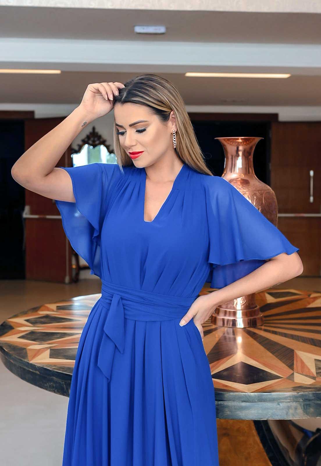 vestido longo azul bicpara madrinhas