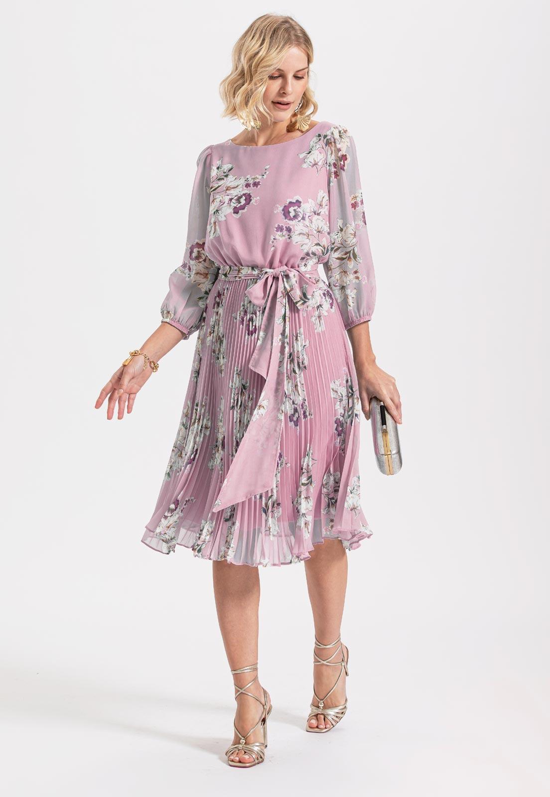 vestido de madrinha floral  rosa