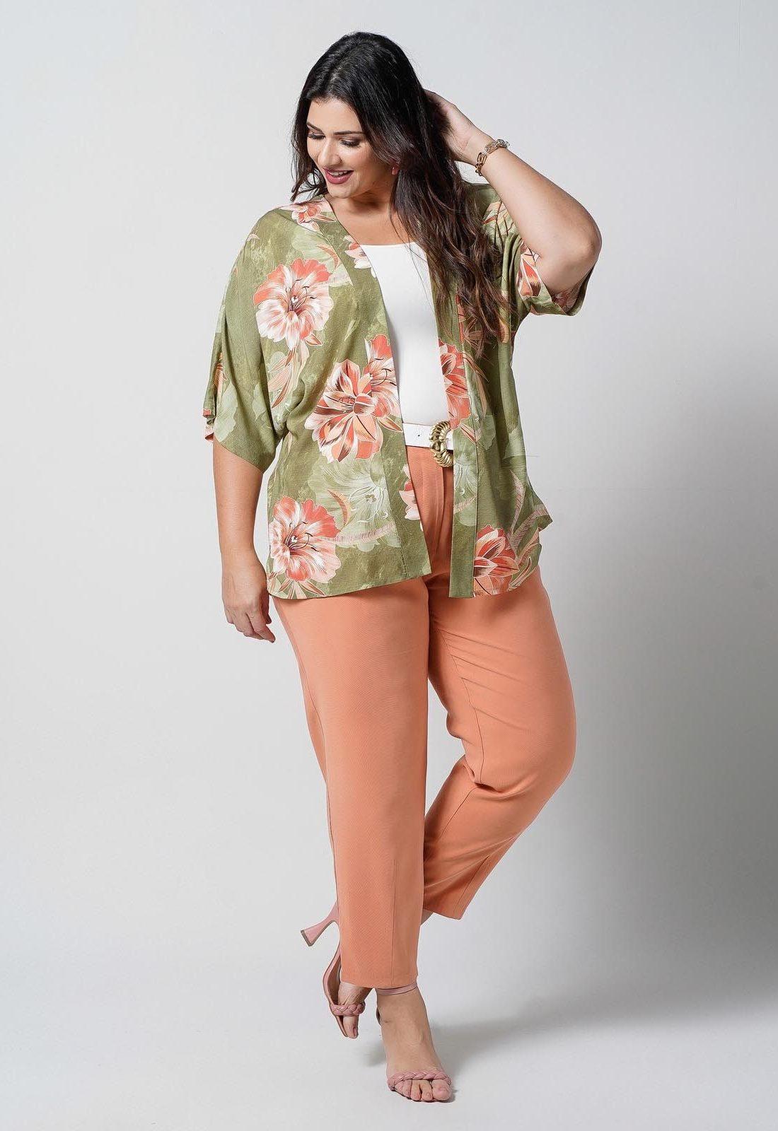 Kimono verde estampado  plus size  Ref. U67821