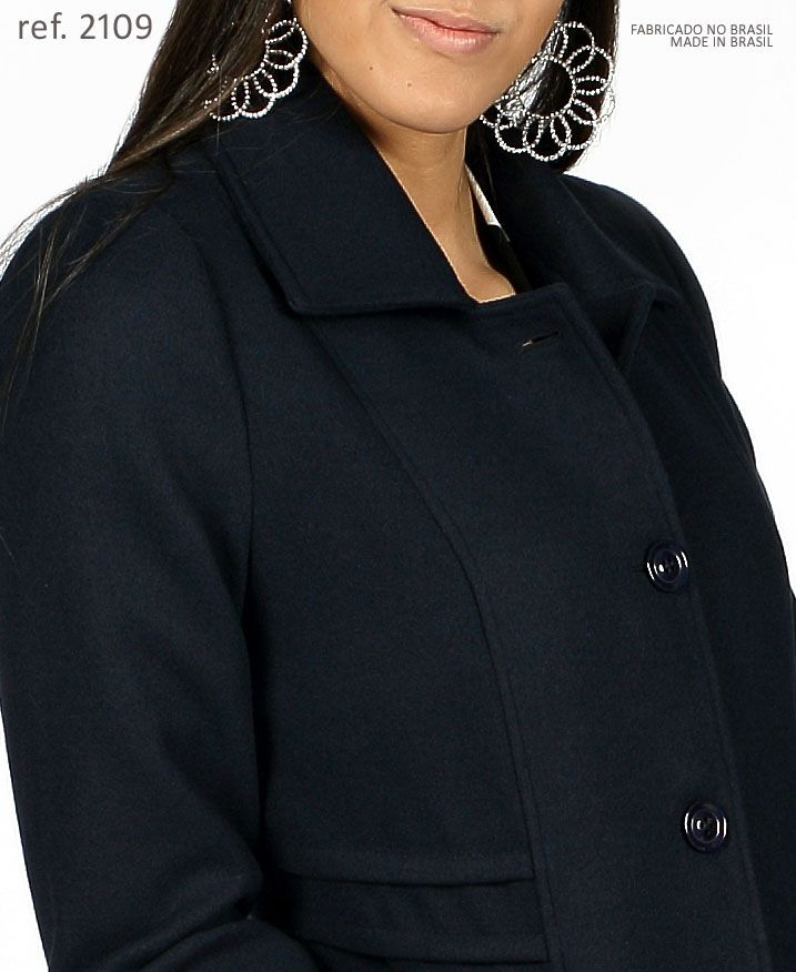 Sobretudo lã casaco feminino marinho plus size - Ref. 2109