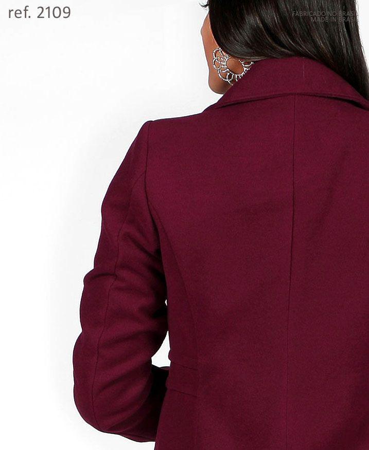 Sobretudo lã casaco feminino Vinho marsala plus size - Ref. 2109