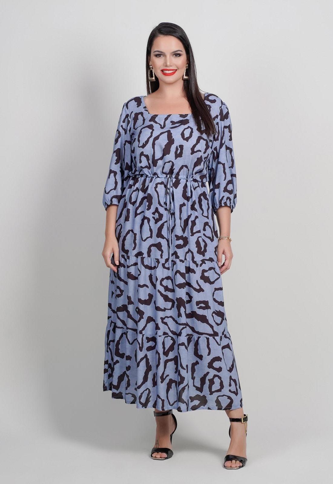 Vestido azul estampado  plus size com manga  Ref. U64521