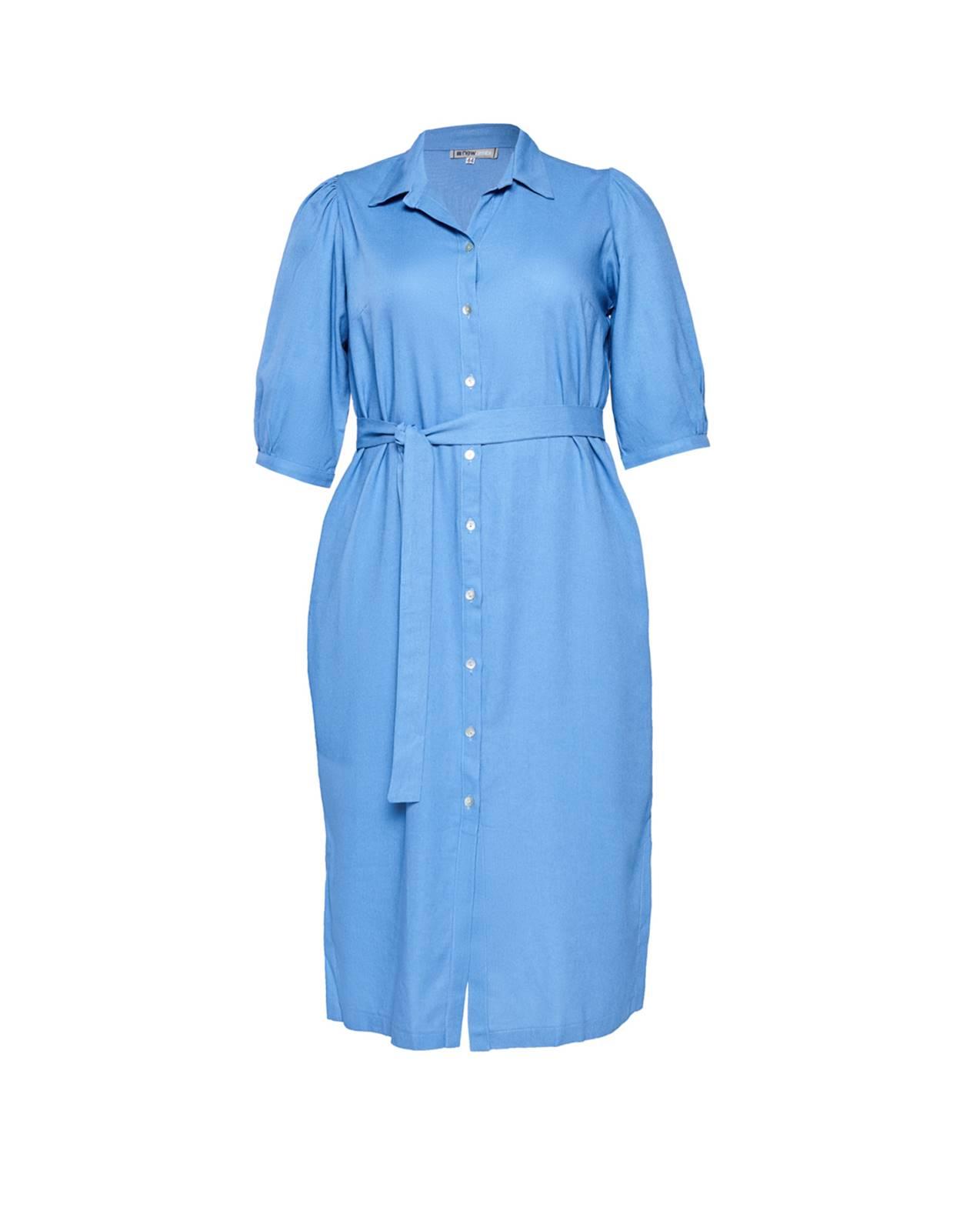 Vestido azul  plus size com manga  Ref. U61221