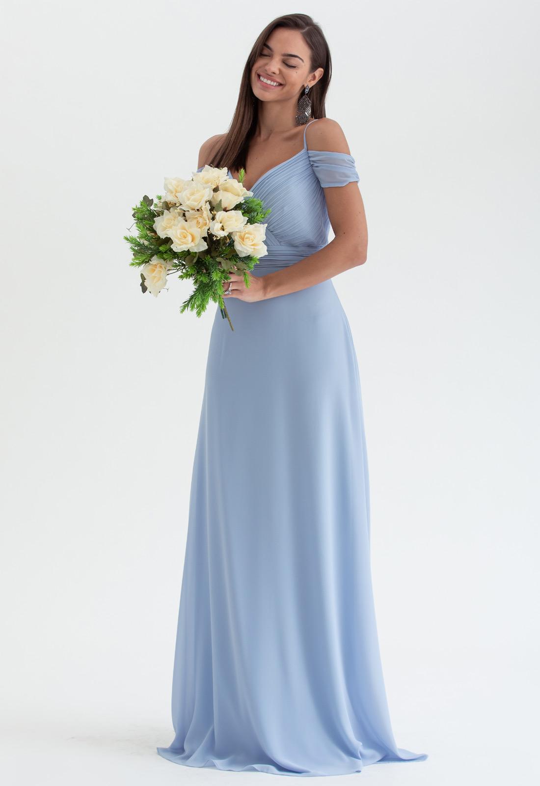 Vestido azul serenity longo madrinha ref. 2474