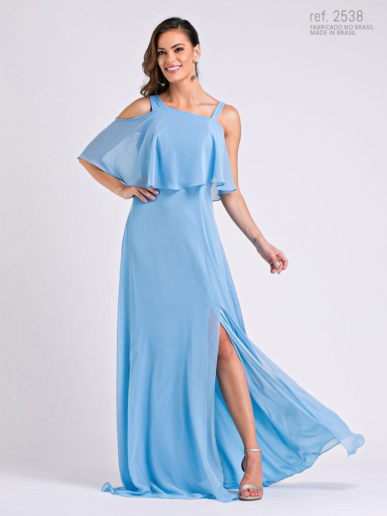 Vestido azul serenity ombro a ombro - Ref. 2538