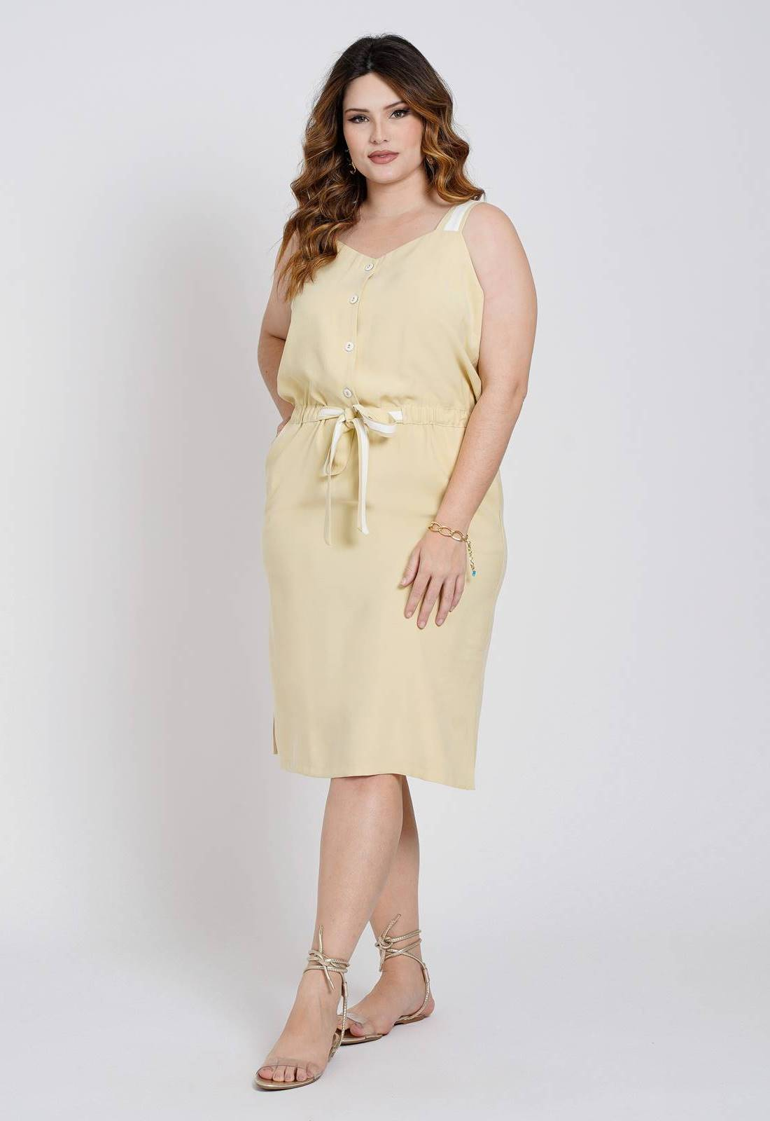 Vestido bicolor plus size midi amarelo Ref. U79821