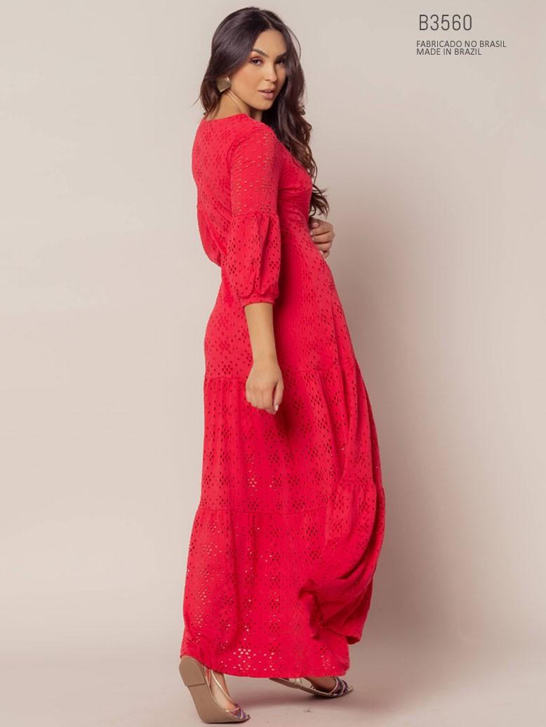 vestido vermelho com manga
