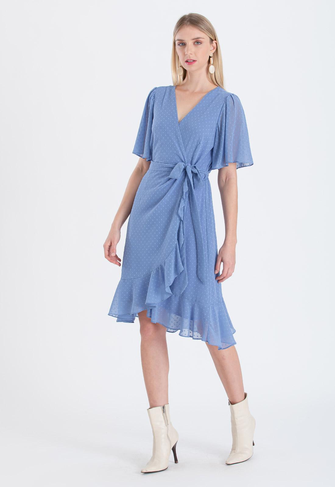 Vestido chemise cachecouer azul niagara transpassado ref. 2673