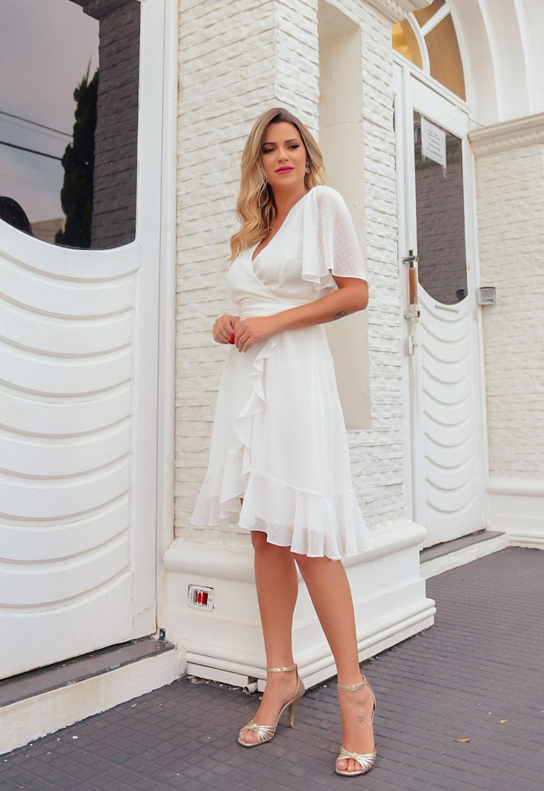 Vestido chemise cachecouer branco transpassado ref. 2673
