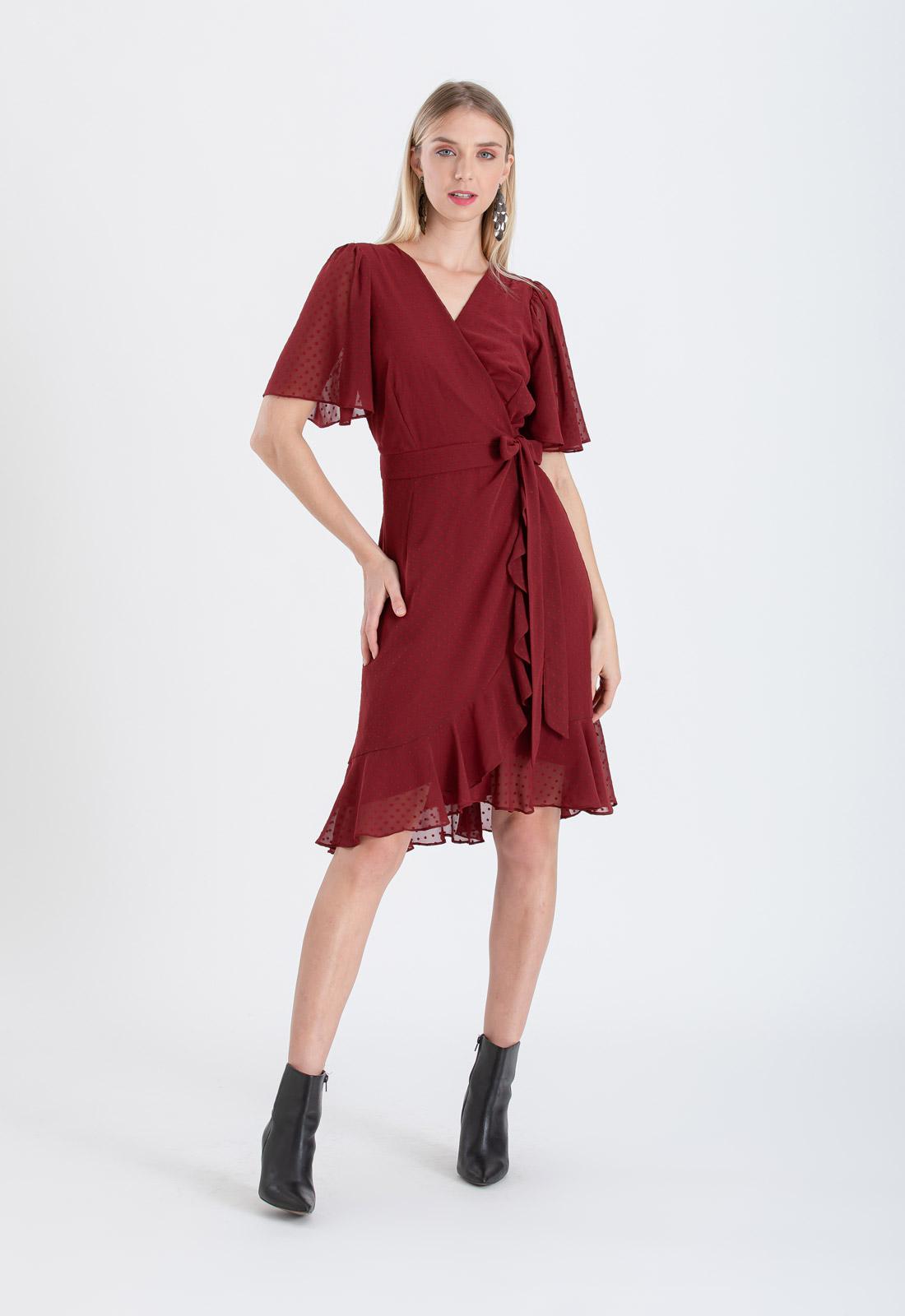 Vestido chemise marsala cachecouer ref. 2673