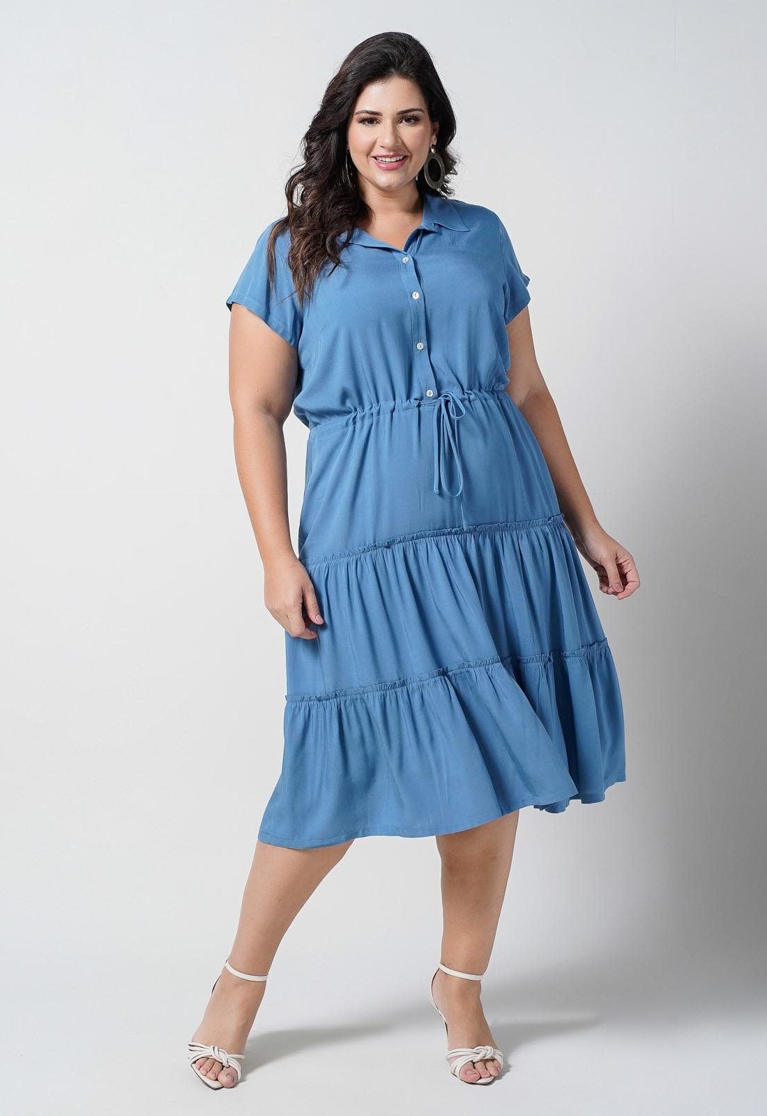 Vestido camadas com coulisse azul plus size  ref. U69921