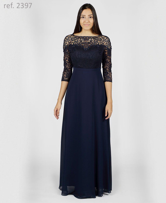 Vestido de festa longa com manga 3/4  azul marinho - Ref. 2397