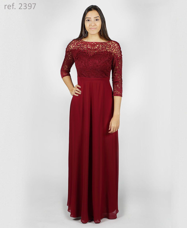 Vestido de festa de guippir com renda e manga 3/4 Marsala - Ref. 2397