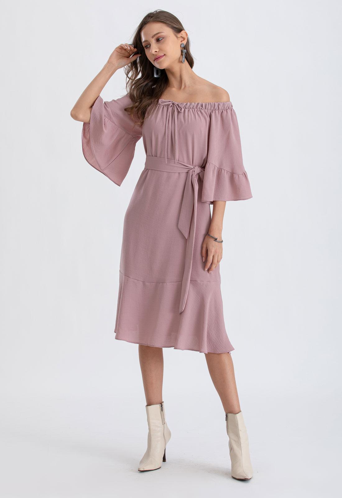 Vestido cigana manga 3/4 elástico rosê Ref. 02654