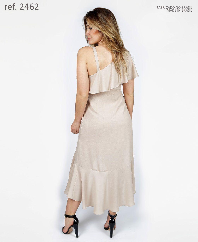 Vestido curto de crepe com babados de um ombro só e alça - Ref. 2462