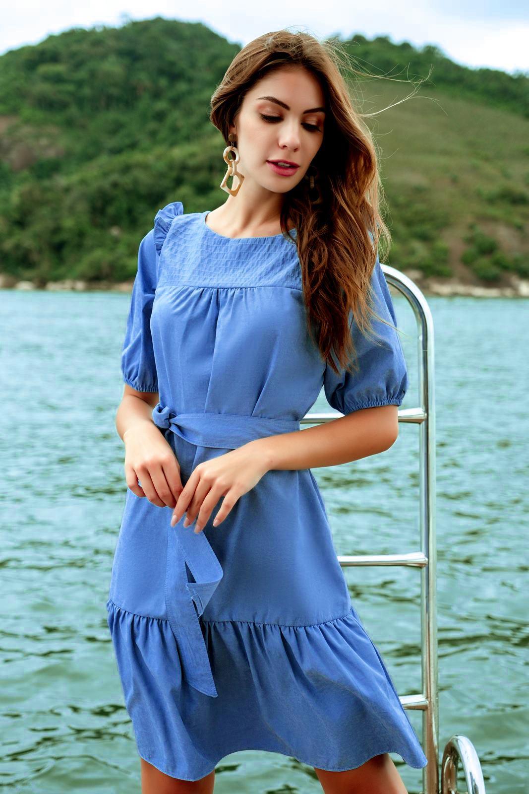 Vestido curto azul charmosa ref. F12180