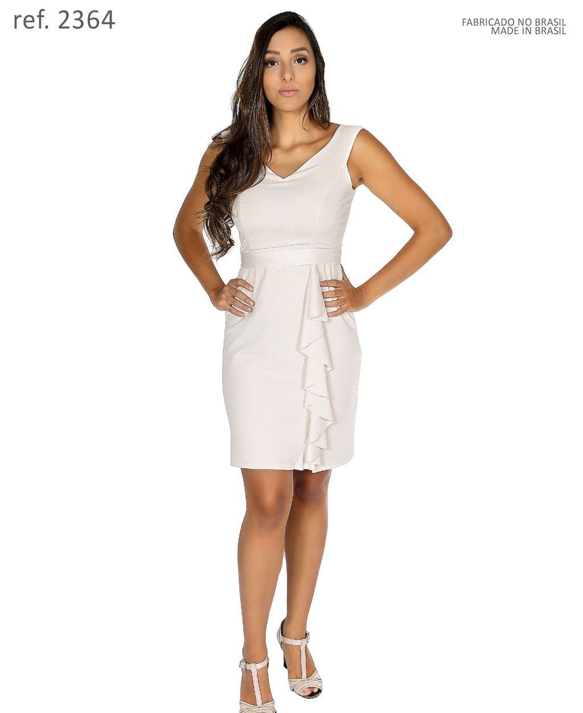Vestido tubinho curto babados cinto personalizado - Ref. 2364